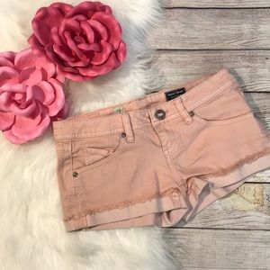 Volcom pink denim cuffed  jean shorts size 0/24